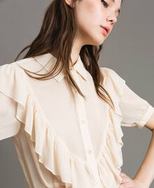 "Crepon ruched shirt ""Milkway"" Beige Woman 191LB21GG-01"
