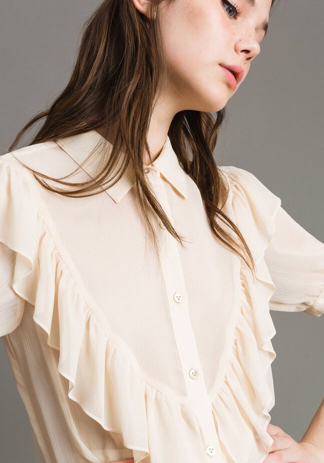 Crepon ruched shirt