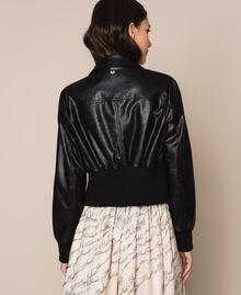 Blouson en similicuir avec ceinture Noir Femme 201MP2030-03