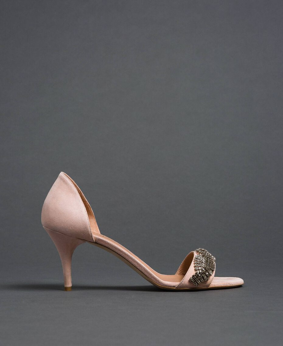 "Suede sandals with rhinestones ""Nude"" Beige Woman 192TCP12C-02"
