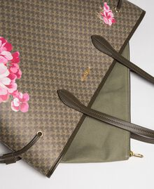 Printed shopper with clutch Army Green Butterfly Floral Print Woman 192TA7017-02