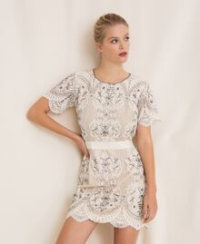 Lace dress with embroidery Ivory Woman 201TP2462-01