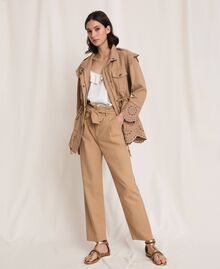 """Canvas jacket with broderie anglaise """"Dune"""" Beige Woman 201TP2011-01"""