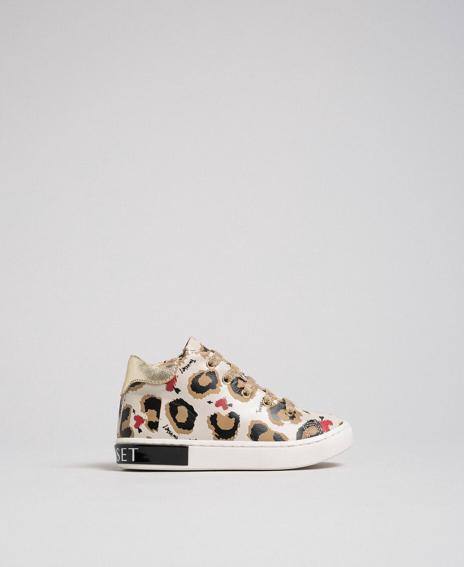 Animal print leather trainers Leopard Print Child 192GCB024-03