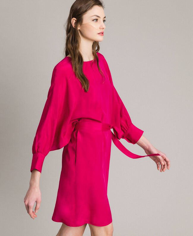 "Silk blend tunic dress ""Anemone"" Fuchsia Woman 191TP2147-01"