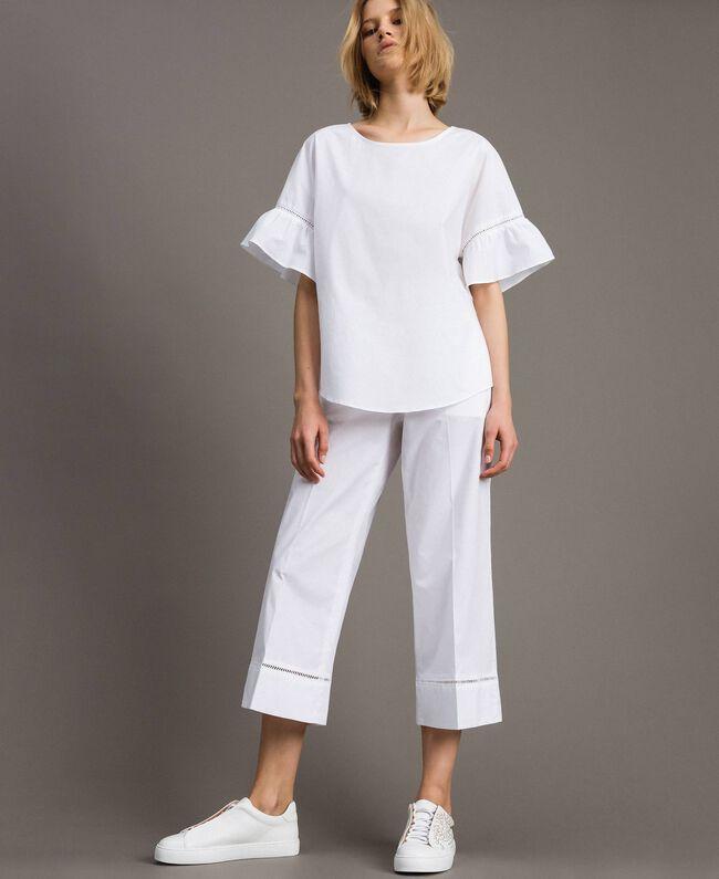 Pantalon en popeline avec broderies Blanc Femme 191TT2244-01