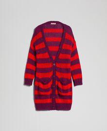 Maxi cardigan en mohair rayé Rayure Rouge Betterave / Grenadier Femme 192TP3272-0S
