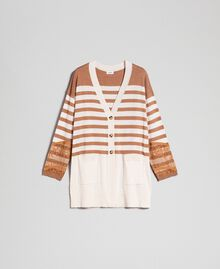"Wool blend maxi cardigan with stripes and lace Creamy White / ""Sequoia"" Beige Woman 192ST3011-0S"