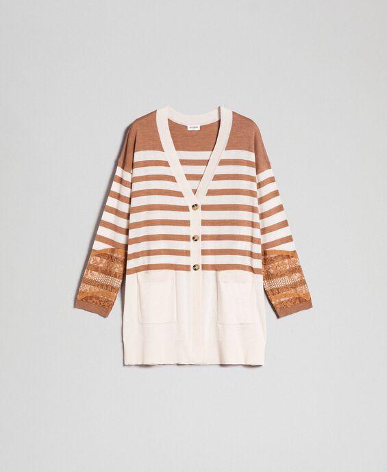 Maxi cardigan en laine mélangée avec rayures et dentelle