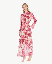 "Printed long dress ""Love Bites"" Fuchsia Flowers Print IA7KLL-03"