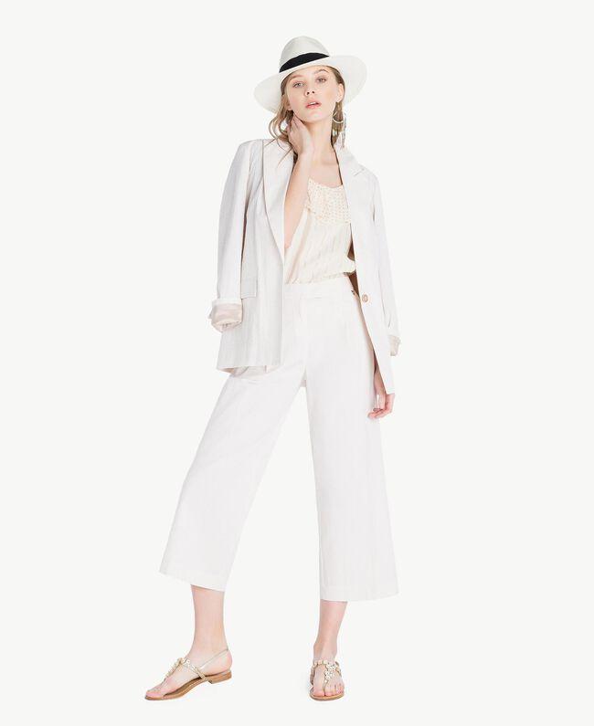 """Cropped trousers Light """"Dune"""" Beige Stripes Woman TS82Z3-05"""