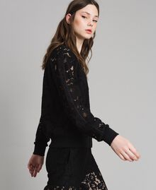 Macramé lace bomber Black Woman 191TP2250-02