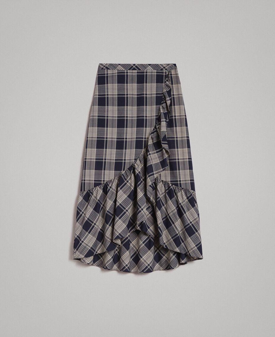 Jupe longue en coton à carreaux Jacquard à Carreaux Bleu Ombre Femme 191ST2133-0S