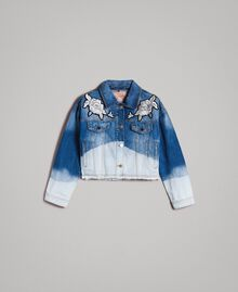 Denim jacket with floral patch Bleached Shades Woman 191TT2050-0S