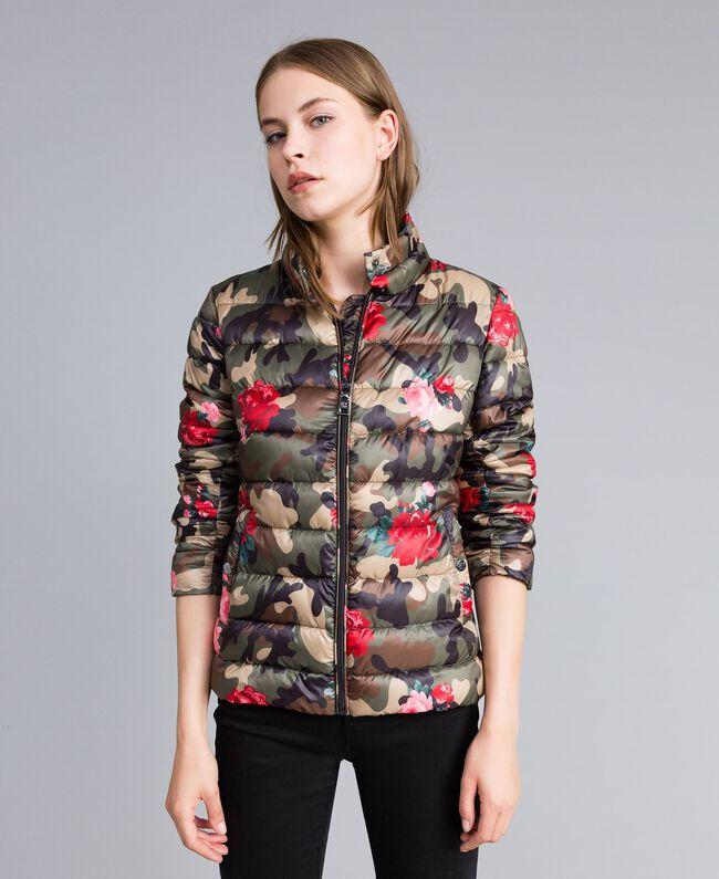 Printed light padded jacket Camouflage Flower Rose Print Woman JA82AN-01