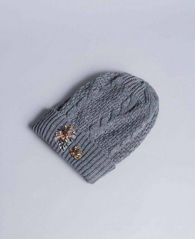 Mütze mit Zopfmuster und Strass Durchschnittgrau-Mélange Frau OA8T6B-01