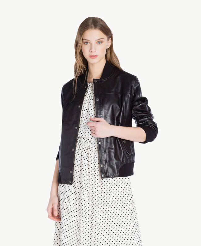 Leather jacket Black Woman PS82DA-01