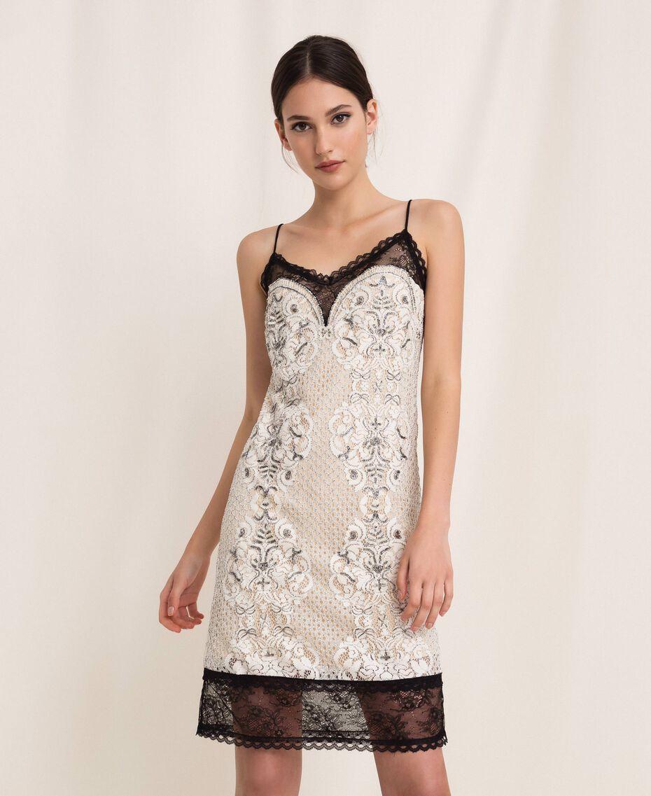 Кружевное платье-комбинация с вышивками Слоновая кость женщина 201TP2463-01