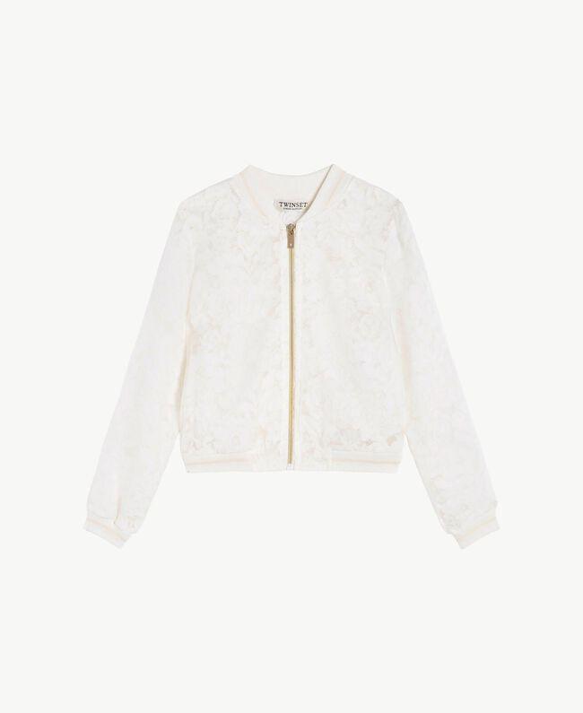Silk bomber jacket Pale Cream Child GS8LD2-01