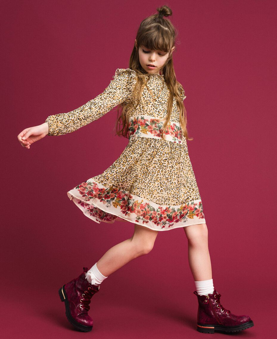 Floral and animal print georgette dress Leopard Print / Floral Child 192GJ2572-02