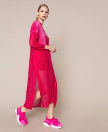 Maxi cardigan en maille filet Rose Sauvage Femme 201MT3011-01