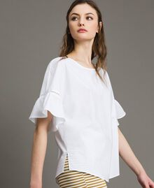 Poplin flounce blouse White Woman 191TT224D-03