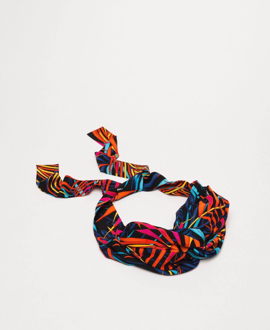"Printed scarf headband ""Ice"" White Ferns Print Woman 201MO5340-02"