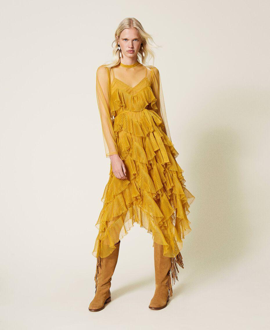 Pleated flounce tulle dress Saffron Yellow Woman 212TP2200-01