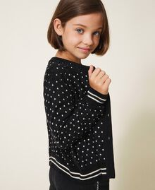 "Printed jumper-cardigan with rhinestones Black / ""Snow"" White Star Print Child 202GJ3640-02"