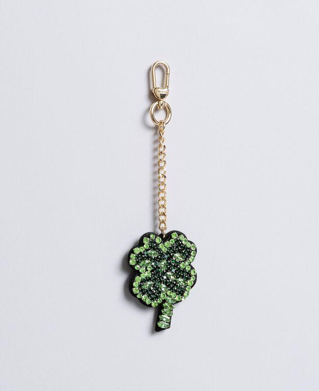 Portachiavi in metallo con strass Verde Bottiglia Donna AA8PMG-01