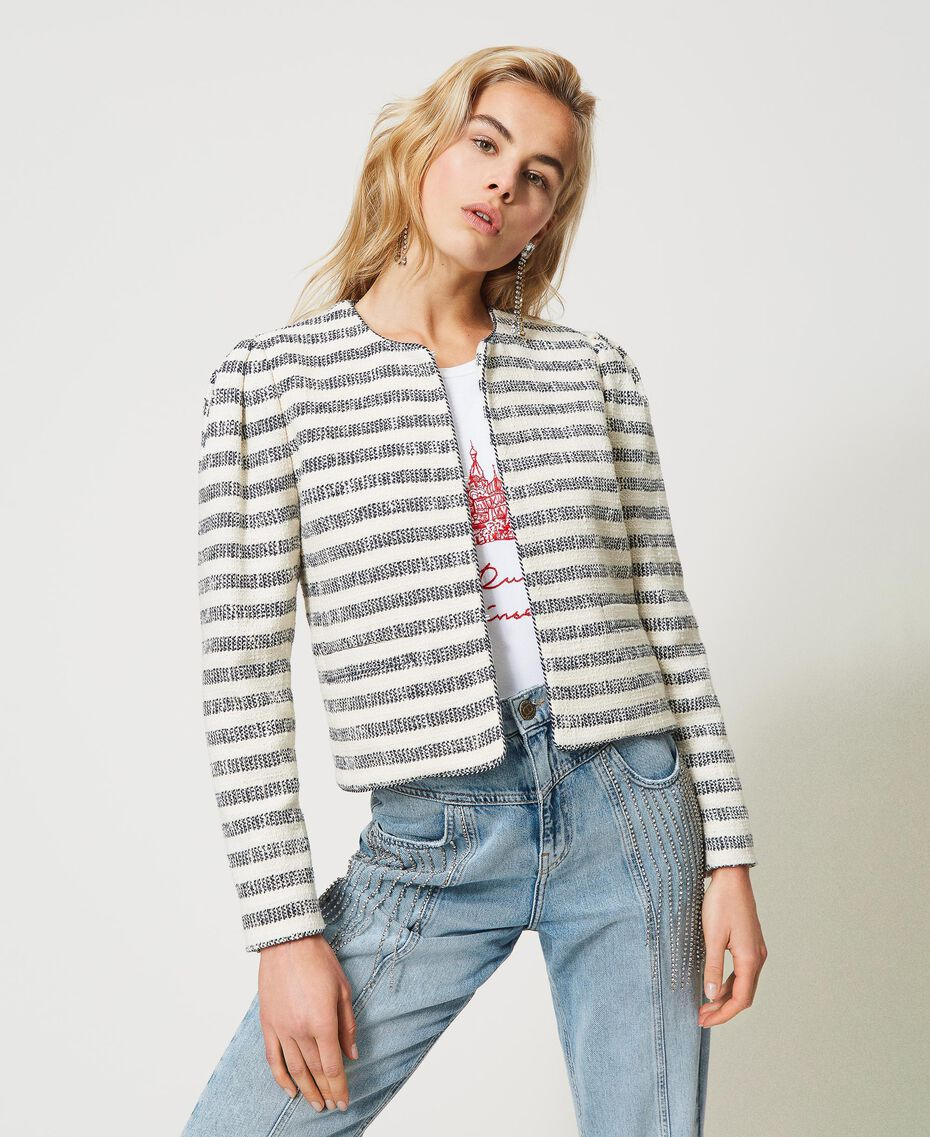 "Striped bouclé jacket ""Ivory Mat"" Grey / Blue Light Stripe Woman 211TT2051-02"