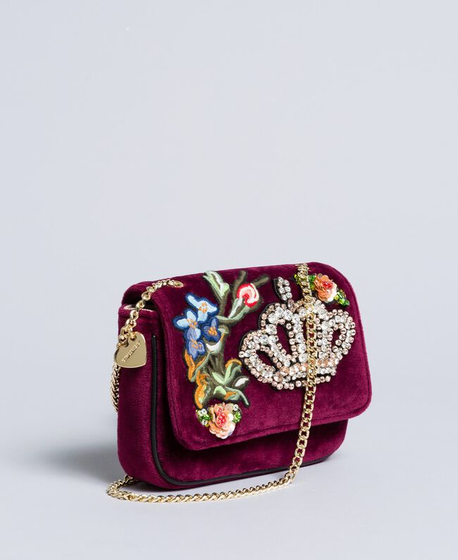 Velvet shoulder bag with embroidery and rhinestones Bordeaux Woman AA8PBN-01