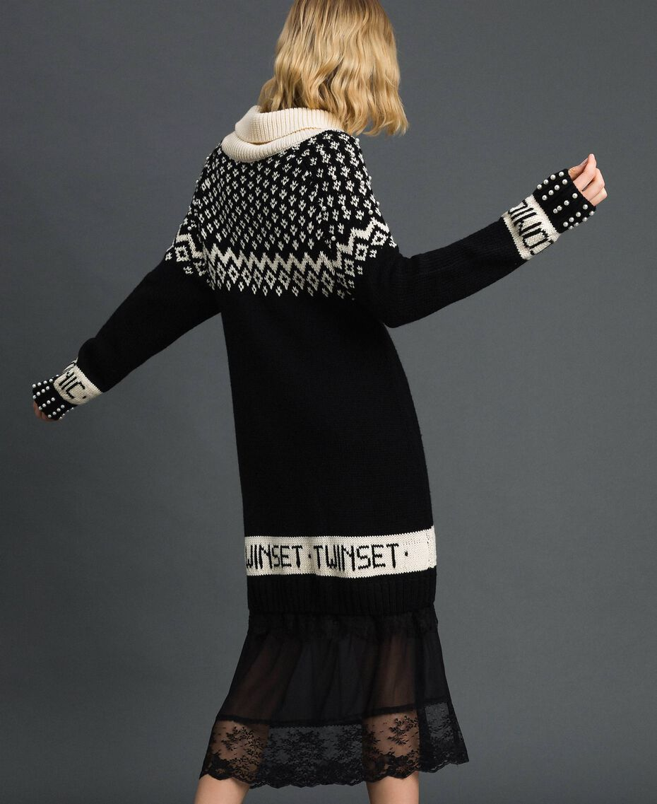 "Jacquard knit dress with logo and pearls Black / Dark ""Papyrus"" White Jacquard Woman 192TP332D-03"
