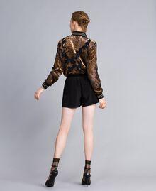 Short en soie avec clous Noir Femme PA82EW-03