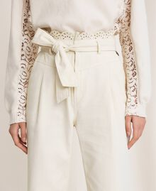 """Canvas trousers with broderie anglaise """"Dune"""" Beige Woman 201TP2015-05"""