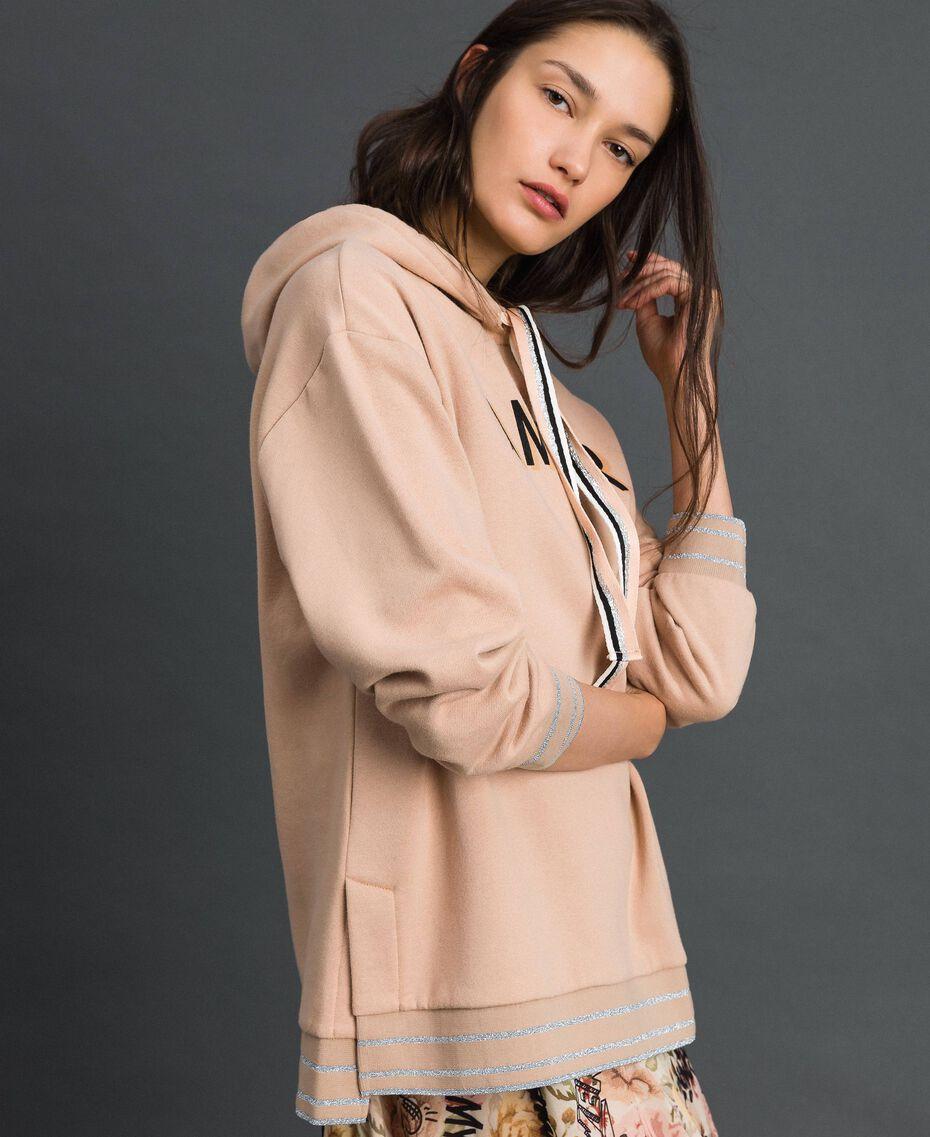 Lurex stripe hoodie Beige Nude Woman 192LI2GAA-02