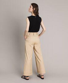 Poplin palazzo trousers Beige Porcelain Woman 191MP2213-03