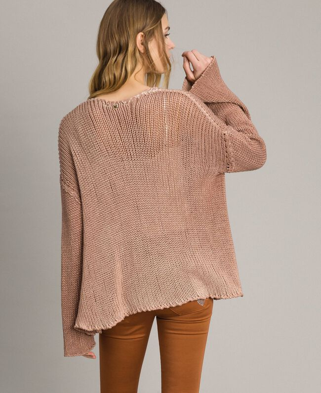 "Double-sided cotton cardigan ""Desert Rose"" Beige Woman 191MT3012-04"