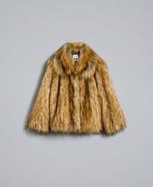 Jacke aus Pelzimitat Karamell Frau YA82CA-0S