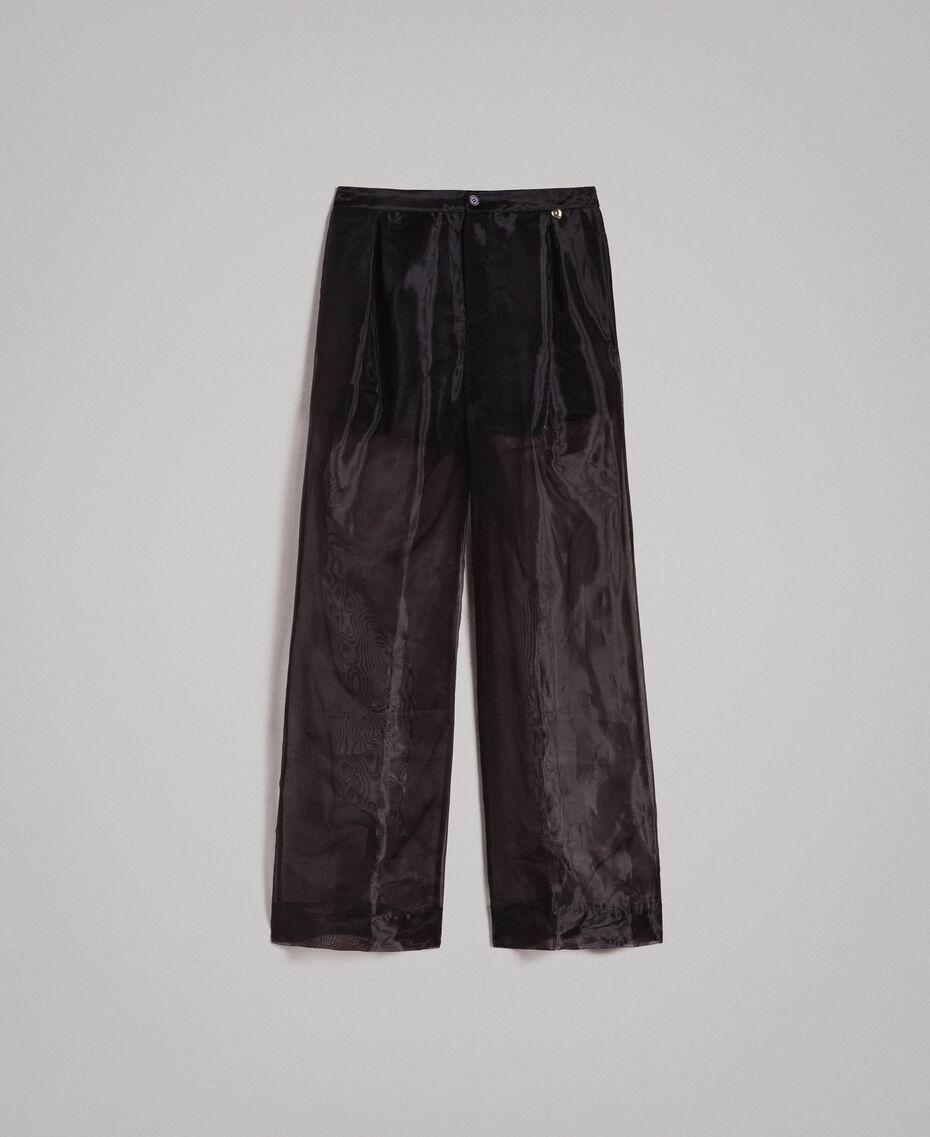 Pantalon palazzo en organza Noir Femme 191MT2132-0S