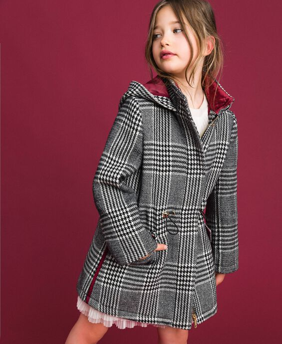 Houndstooth wool blend parka coat