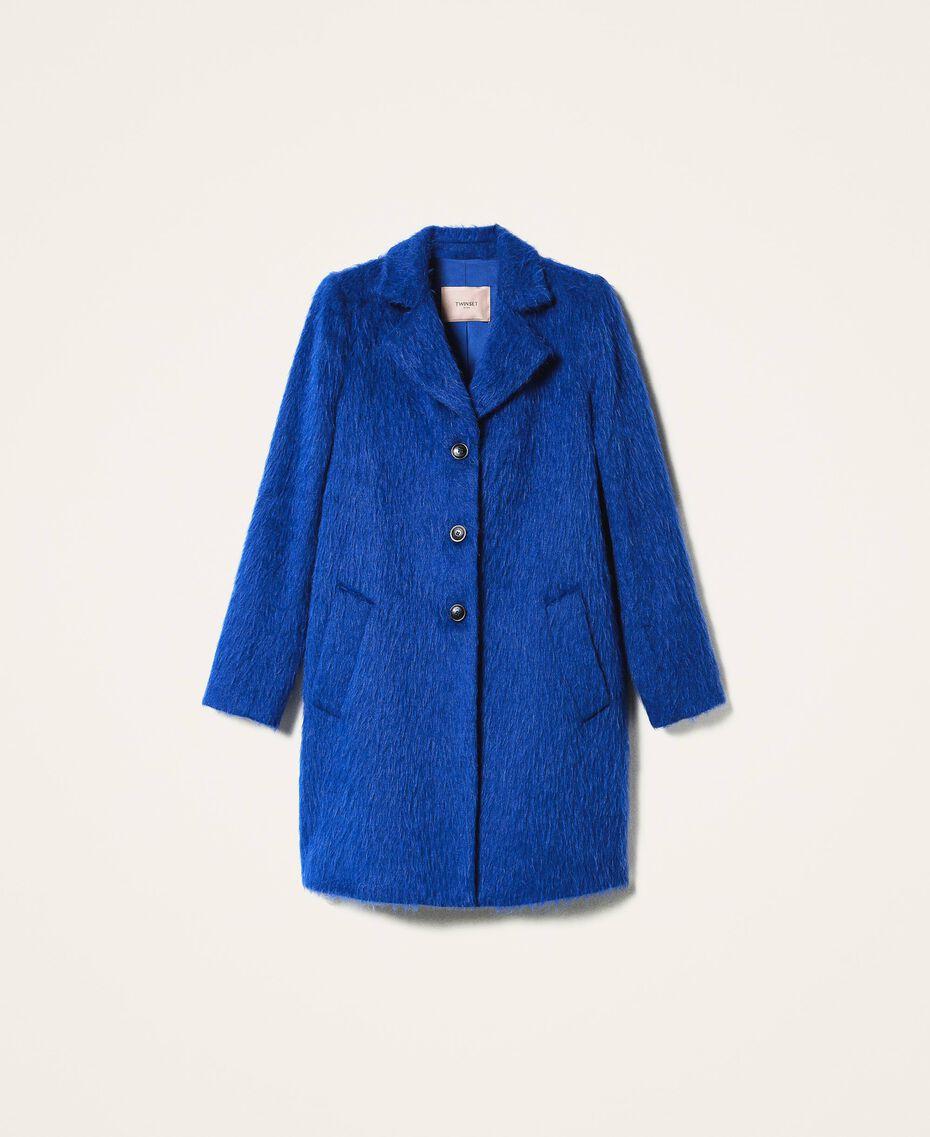 Mantel aus gerautem Tuch Dunkles Kornblumenblau Frau 202TP2602-0S