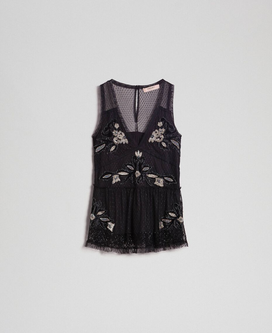 Plumetis tulle top with floral embroidery Black Woman 192TT2043-0S