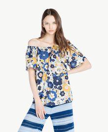 Bluse mit Print Flacher Blumenprint Placid Blue Frau SS82PB-01