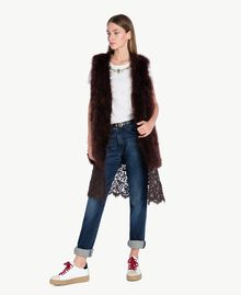 Long fur waistcoat Dark Brown Female PA72RN-01
