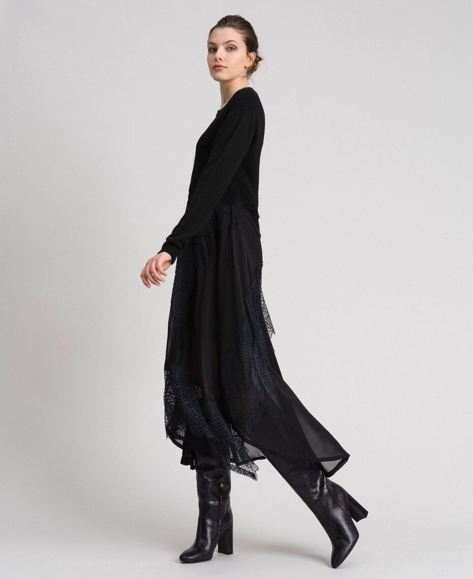Robe longue en maille et crêpe georgette avec dentelle Noir Femme 192TT3080-02