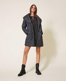 """Optical print puffer jacket Black /""""Nude"""" Beige Optical Print Woman 202ST2190-01"""