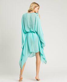 Вышитое платье-кафтан из крепона Голубой мусс женщина 191LB21AA-03