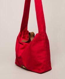 Canvas shopper with shoulder strap True Red Woman 201LM7ZKK-02