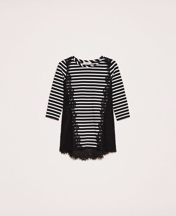Striped maxi T-shirt with macramé lace